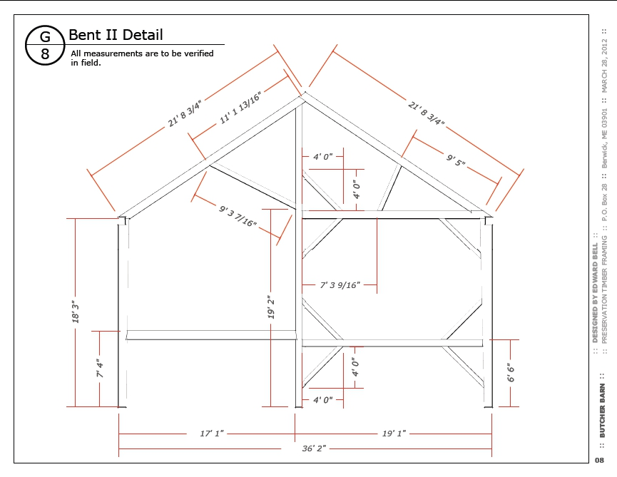 Butcher Bent II drawing, note center drive post, left bay strut and left rafter located directly over left eave post.