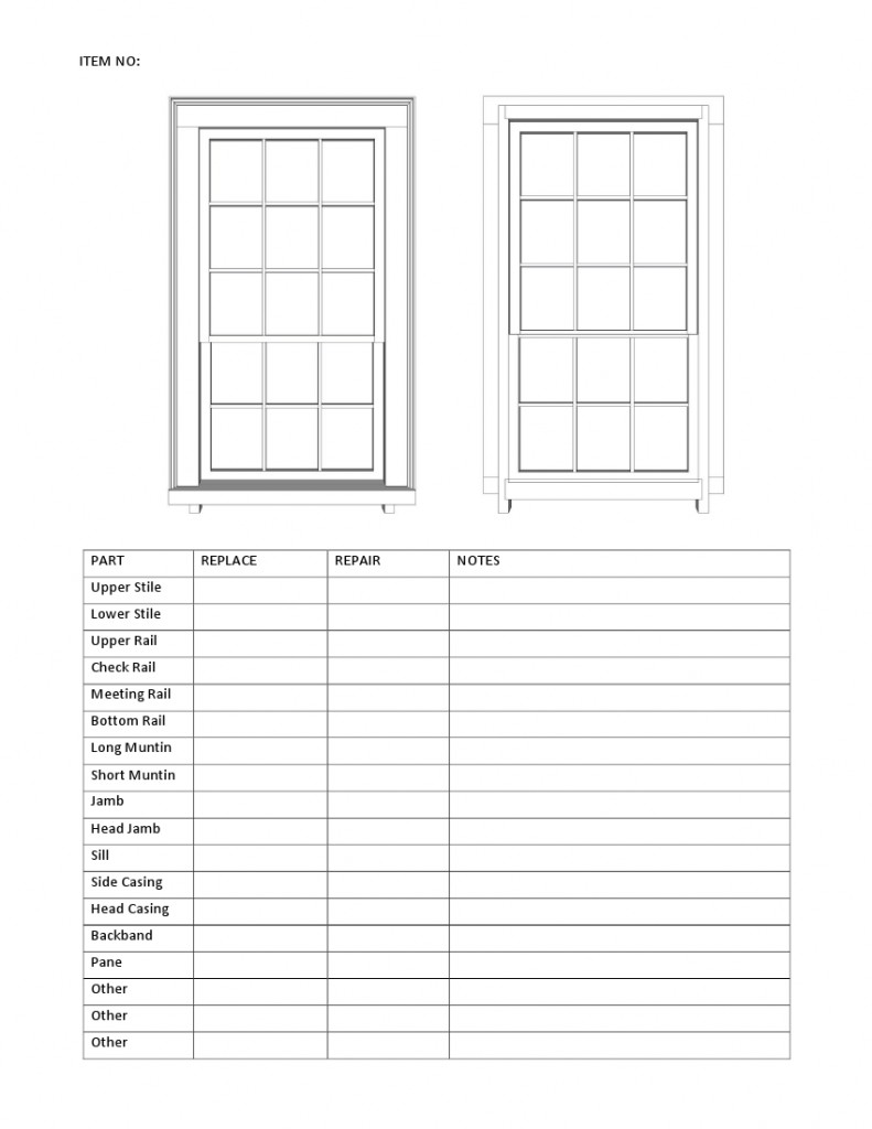 Window Disassembly sheet