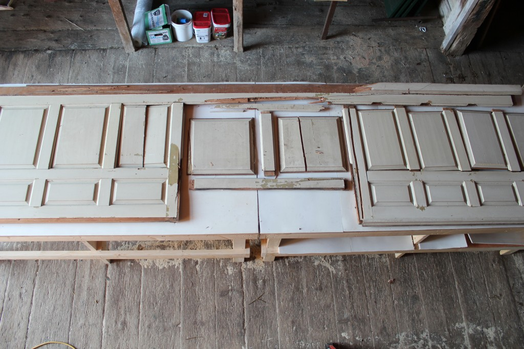 Marrett House Panels, laid out, from loft above