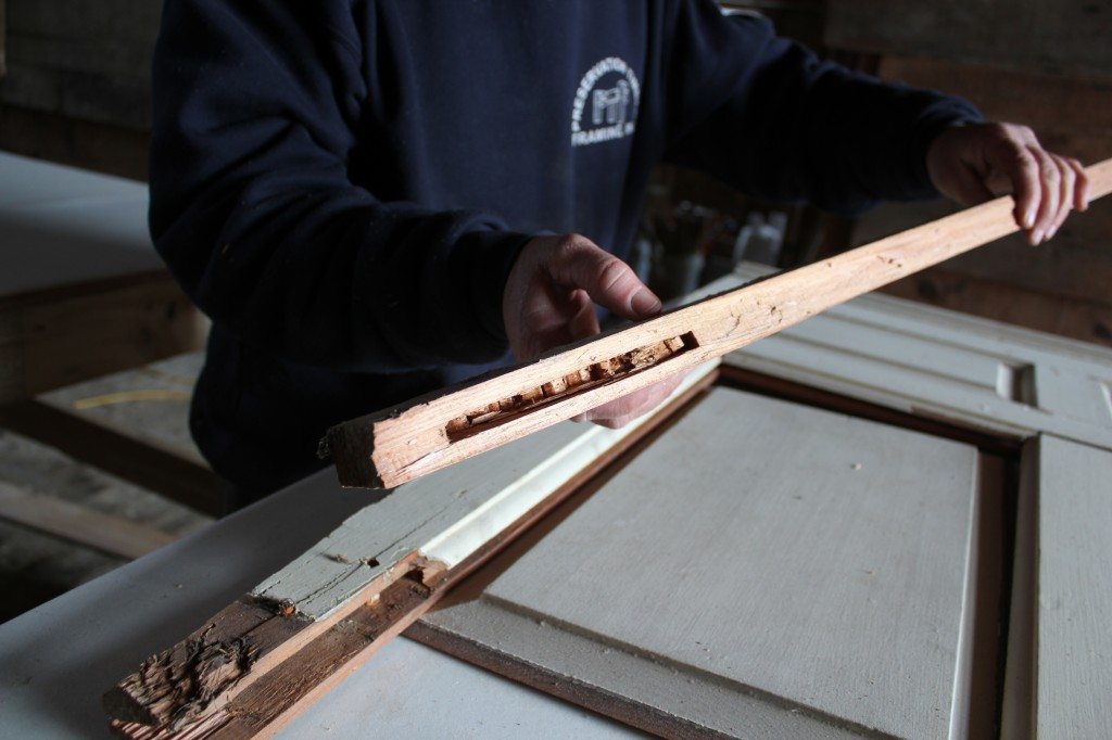 Shawn, the left stile, and mortising chisel marks from a hand-chopped mortise.