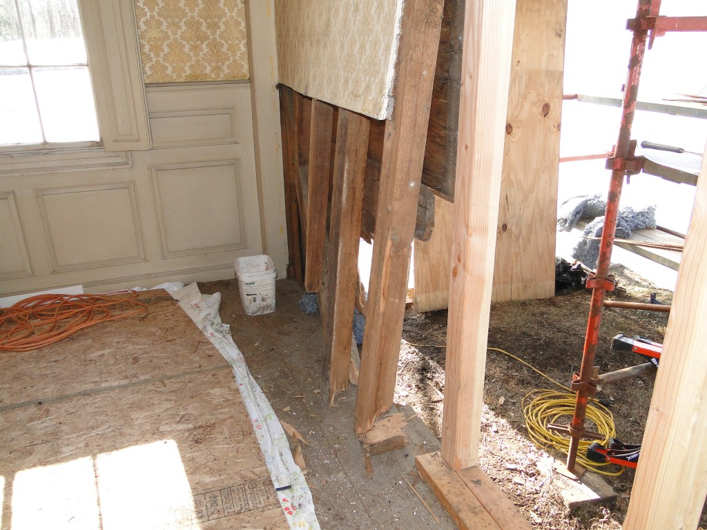 Broken framing, shoved wall. Photo by Shawn Perry
