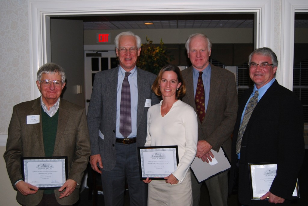 Chris Glass, Tony Grassi, Carmen Bombeke, Jay Fischer and Arron Sturgis accept a Maine Preservation Honor Award