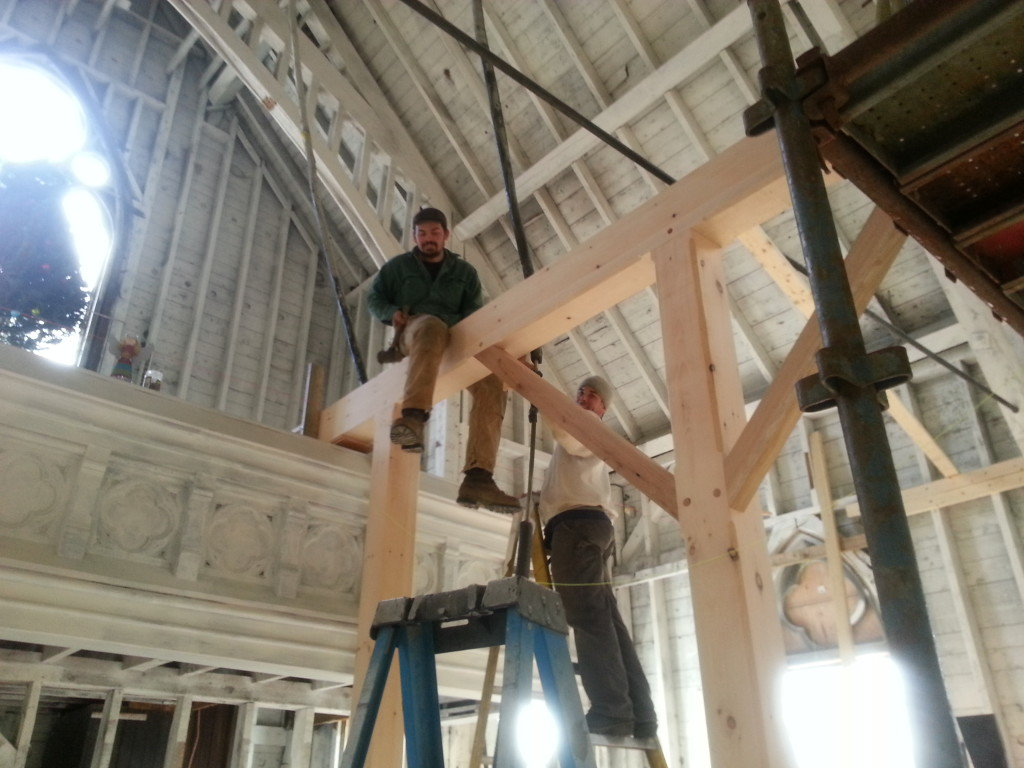 Lee and Scott assist with assembly