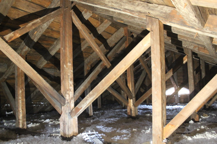King post - prince post truss system, looking rearward